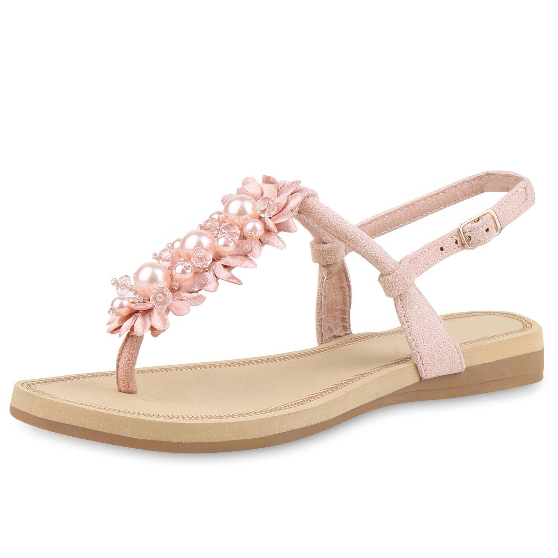 SCARPE VITA Damen Sandalen Zehentrenner Zierperlen Blumen  37 EU|Rosa