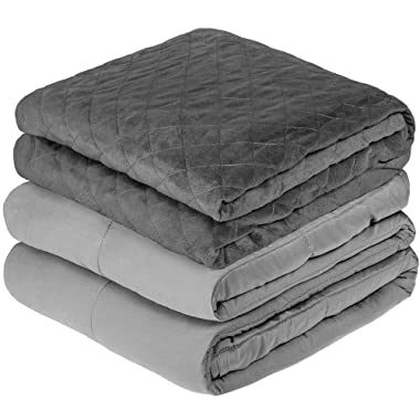 Bare Home Weighted 10lb Personal Sensory Blanket & Quilted Diamond, Grey Removable Duvet Cover – Helps Reduce Stress, Agitation, Insomnia & Anxiety (40 x60  - Duvet Cover: Grey, Blanket: Light Grey)