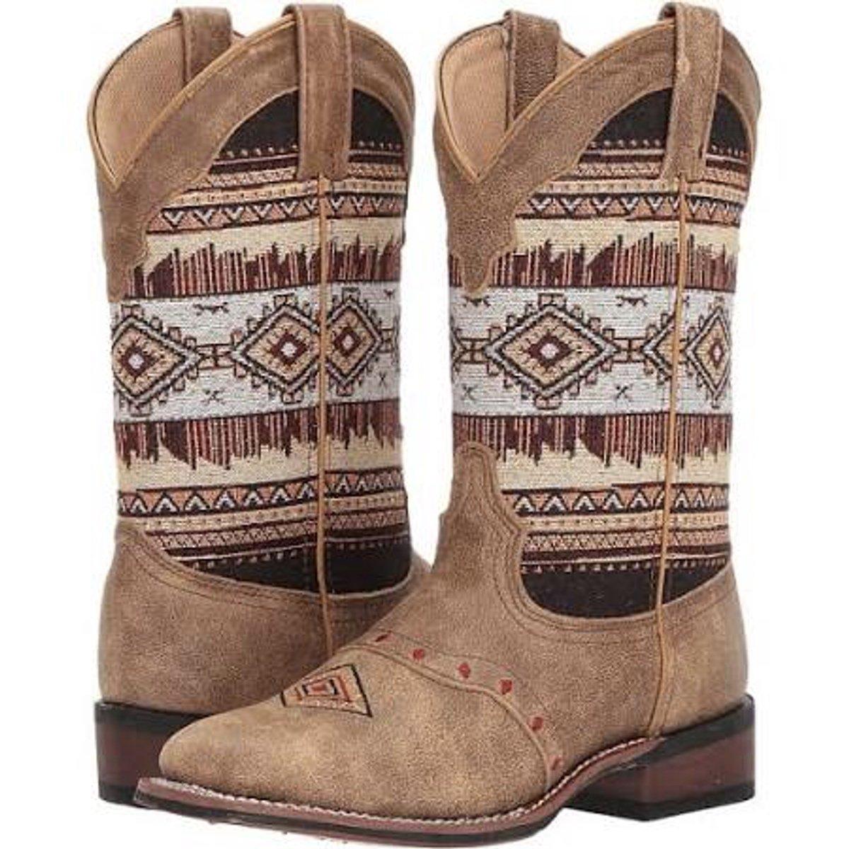 Laredo Women's Scout Tan Aztec Square Toe Boot 5638 B072FQ284H 10 B(M) US|Tan/Aztec