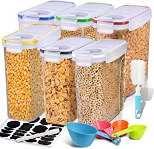 Cereal Container, EAGMAK Airtight Dry Food Storage Containers, BPA Free Large Kitchen Pantry Storage Container for Flour, Snacks, Nuts & More (Multicolor, Set of 6)