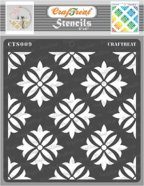Fabric Canvas 6x6 Inches Wall and Tile Paper Reusable DIY Art and Craft Stencils for Painting Flowers CrafTreat Leaves Stencils for Painting on Wood Areca Palm Leaves Floor