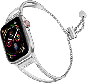 hooroor Bling Bands Compatible with Apple Watch Band 38mm 40mm 42mm 44mm iWatch Series 5/4/3/2/1, Women Dressy Metal Jewelry Bracelet Cuff Bangle Wristband Strap Stainless Steel
