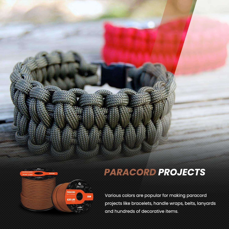 Abma Cord Paracord 9 Inner Strands Type III Nylon Parachute Cord 620lb Breaking Strength