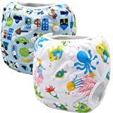 (Blue White) - Storeofbaby 2pcs Baby Swim Cloth Nappies Reusable Adjustable for 0-36 Months (Pack of 2)