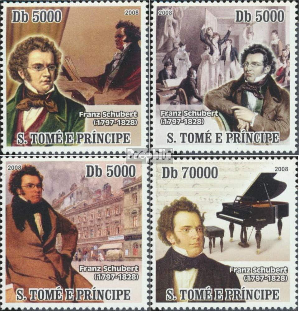 M/úsica // Bailar Completa.edici/ón. Sellos para los coleccionistas Prophila Collection Sao Tome e pr/íncipe 3267-3270 Sheetlet 2008 Franz Schubert