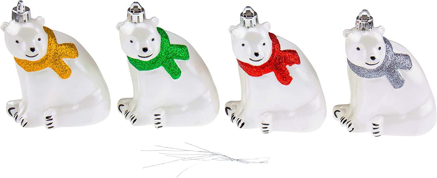 Clever Creations Glittery Green, Silver, Red and Gold Scarf Polar Bear Christmas Tree Ornaments | 4 Pack | Festive Holiday Décor | Lightweight Shatter Resistant | Strings Included | 4