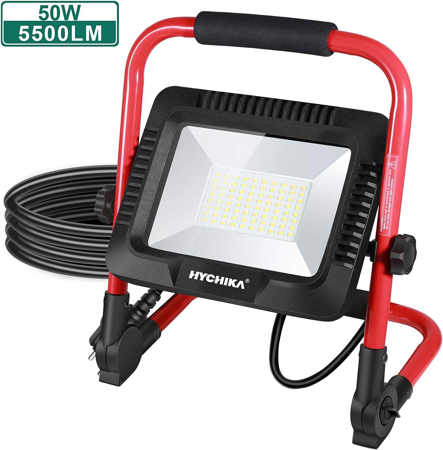 Foco de Trabajo LED 50W, HYCHIKA Luz de Trabajo Portátil Led, Impermeable IP65 para Uso en Exteriores, 5500 LM, 6500K Blanco Brillante, para Obras, Jardines, Garajes[Clase de eficiencia energética A+]