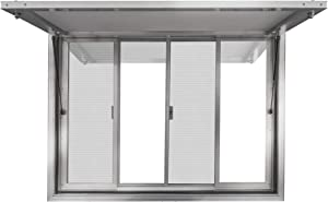 New Concession Stand Window with Awning Door for Food Trucks, Concession Trailers, and Concession Stands with 2 Center Horizontal Slide Windows (36