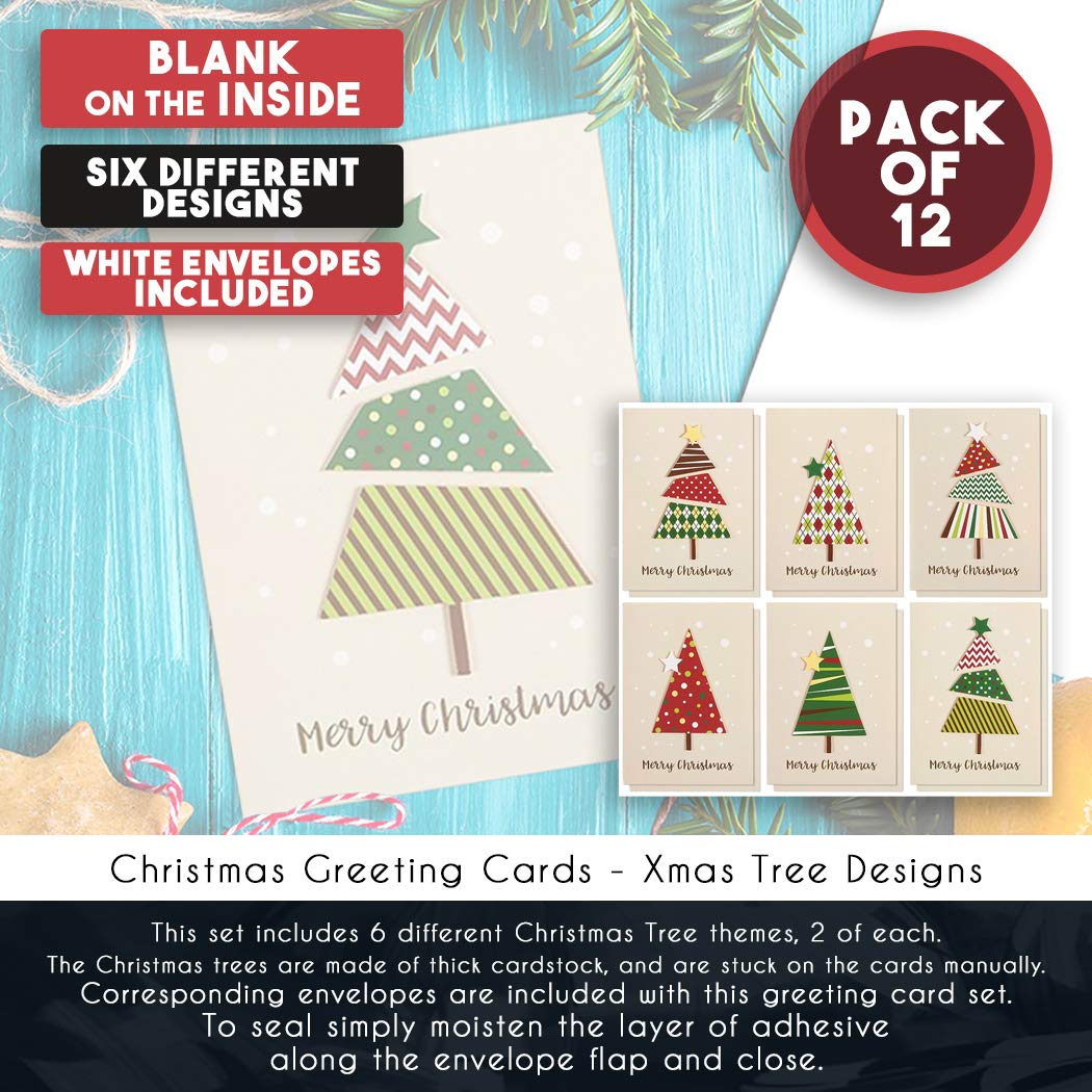 Amazon.com: Set of 12 Merry Christmas Greetings Cards - Handmade ...