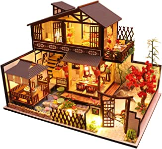 CUTEBEE Dollhouse Miniature with Furniture, DIY Wooden Dollhouse Kit Plus Dust Proof and Music Movement, 1:24 Scale Creative Room Idea (Forest Habitat)