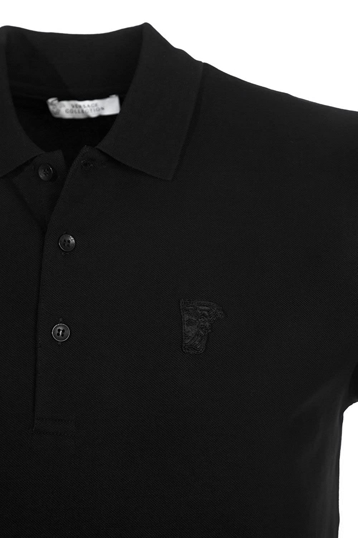 be1b2d6d Amazon.com: Versace Collection V800543A Medusa Plain Black Polo: Clothing