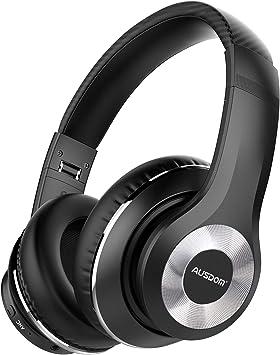 AUSDOM ANC10 Auriculares Diadema Bluetooth 5.0 con Cancelacón Activa de Ruido, Cascos Inalámbricos Bluetooth con Micrófono Hi-Fi Deep Bass,Cómodo Protein Earpads, para PC/Teléfonos Celulares/TV-Negro: Amazon.es: Electrónica