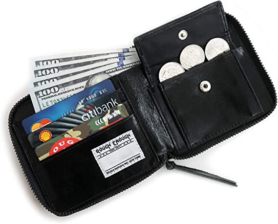 RFID Blocking Mens Zipper Leather Wallet Zip Around Multi Card Holder Purse of Card Cases Money Organizers