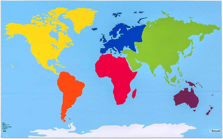 Betzold 74716 Lerntuch Welt Tischdecke Weltkarte Mit Farbigen