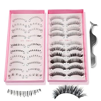 556eda1c4a8 Teenitor Anime Eyelashes, 20 Pair 20 Desgin Japanese Cosplay Eyelash Fake  False Upper Lower Eyelash