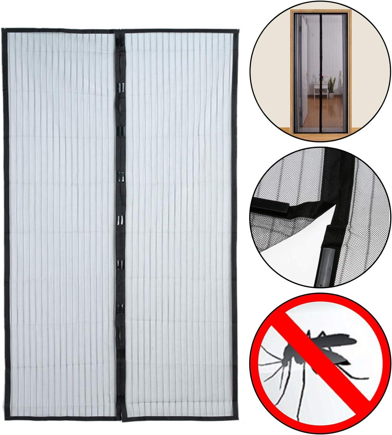 Mosquitera de 210 x 100 cm, cortina magnética, 2 piezas, para puertas de terrazas, balcones, habitaciones, interiores y exteriores