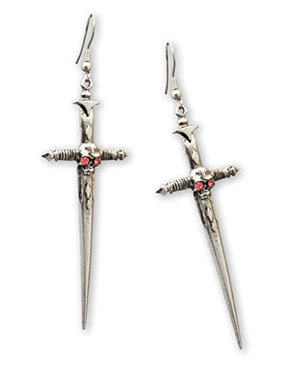 Gothic Dagger Sword Medieval Renaissance Silver Finish Dangle Earrings CdSON