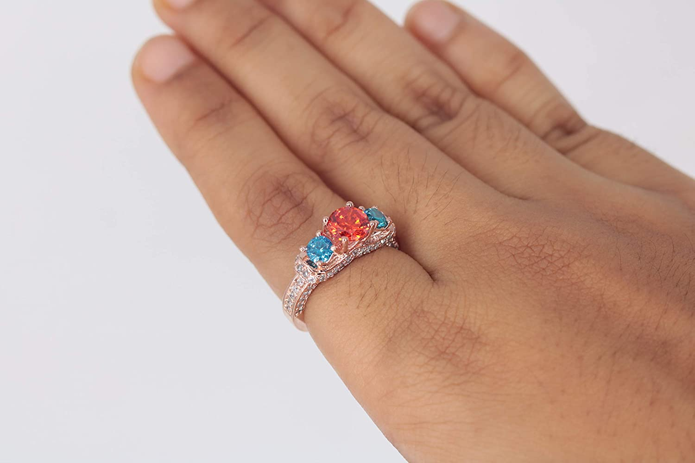 tuskha 14K Rose Gold Plated Multi-Color CZ Merida Princess Engagement /& Wedding Ring for Womens