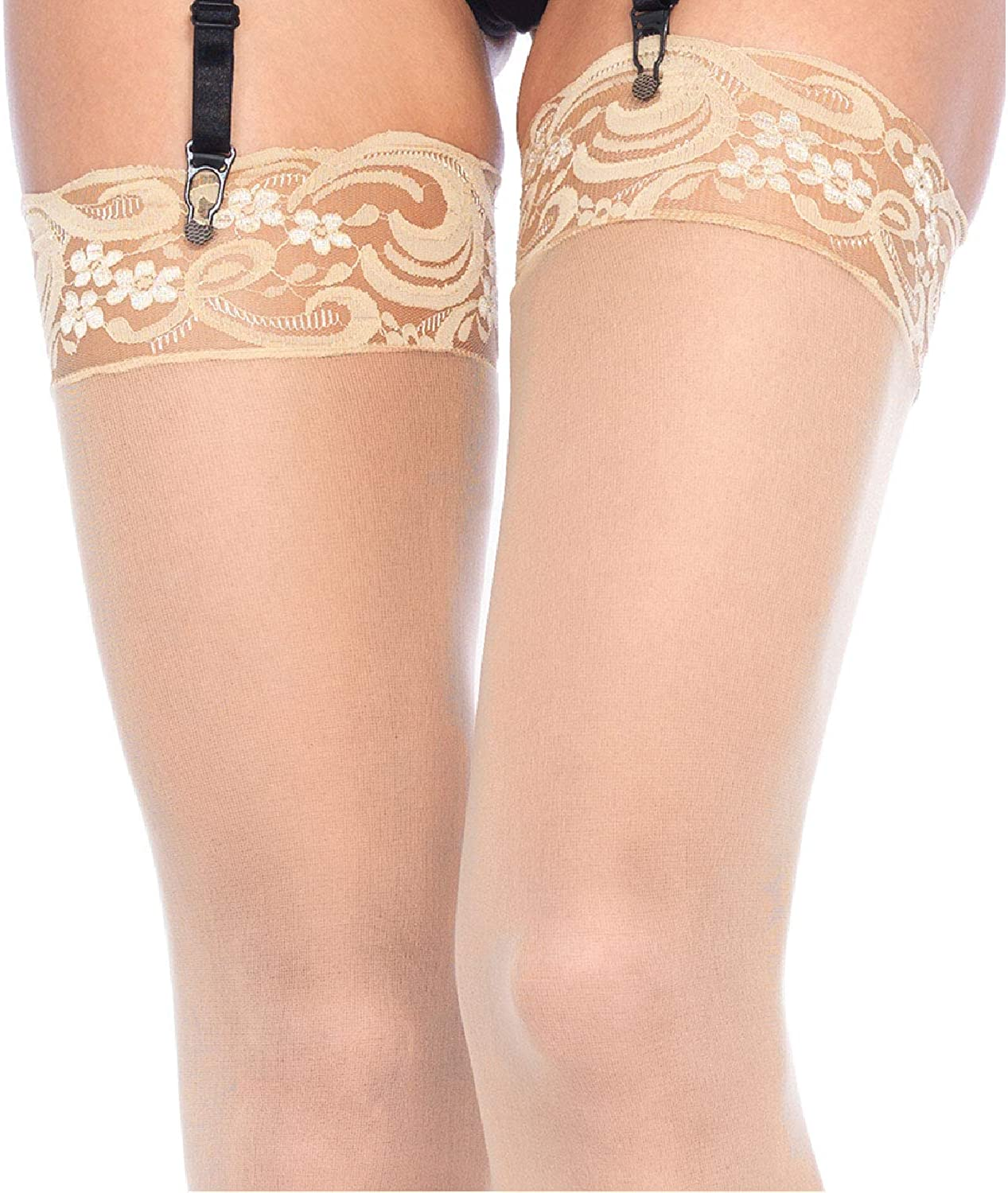Nylon Sheer Thigh High With Lace Top