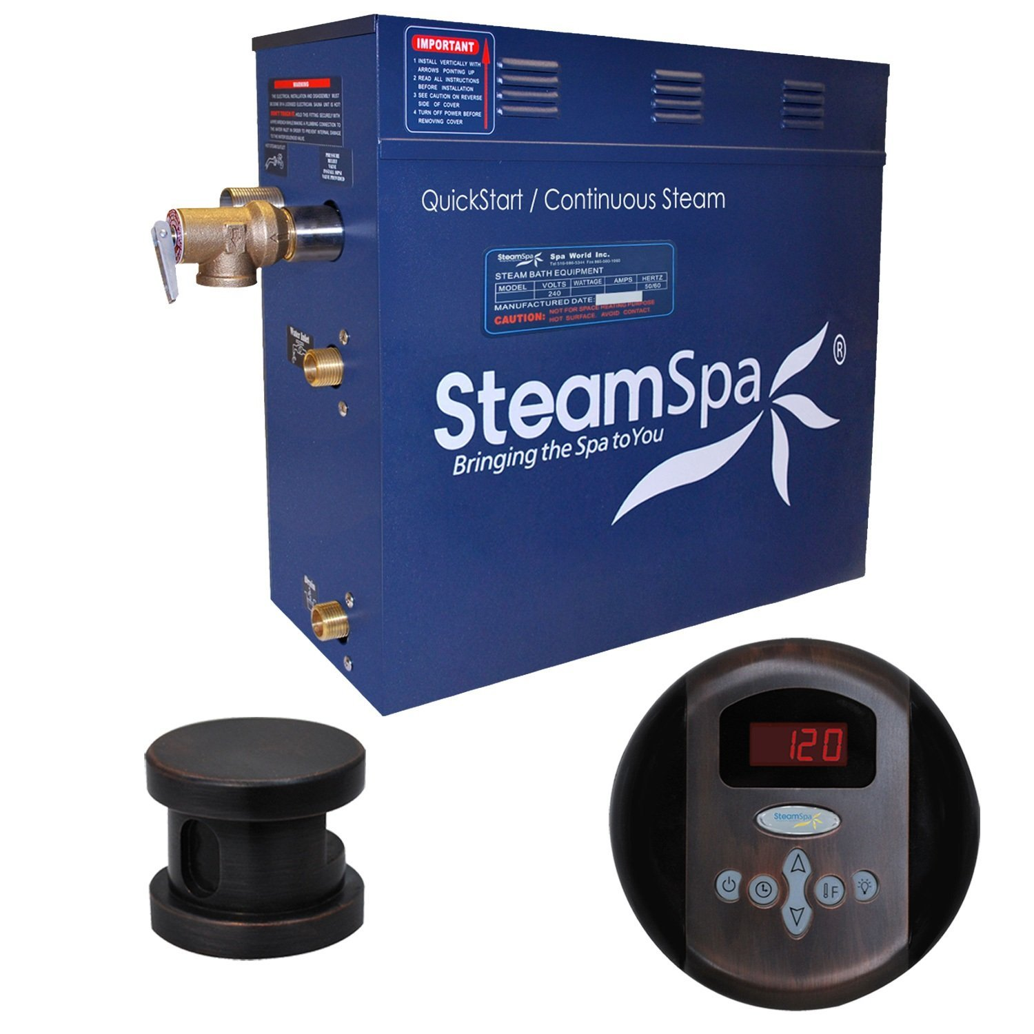Steam Spa OA450OB Oasis 4.5 KW Quick Start Acu-Steam Bath Generator Package, Oil Rubbed Bronze