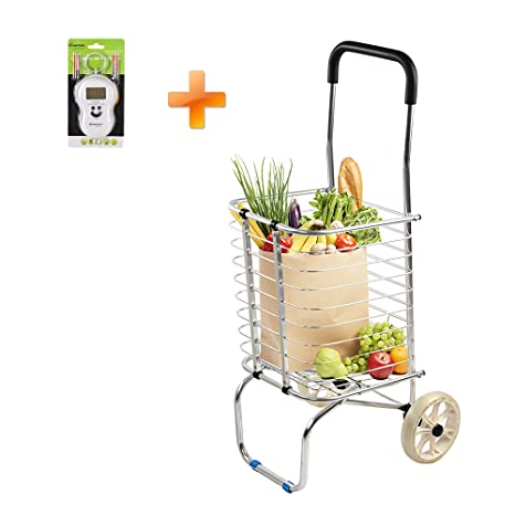 229f41048ee8 Lucky Tree Superlight Folding Shopping Cart with 2 Rolling Wheels Grocery  Utility Hand Cart, Collapsible and Portable Trolley