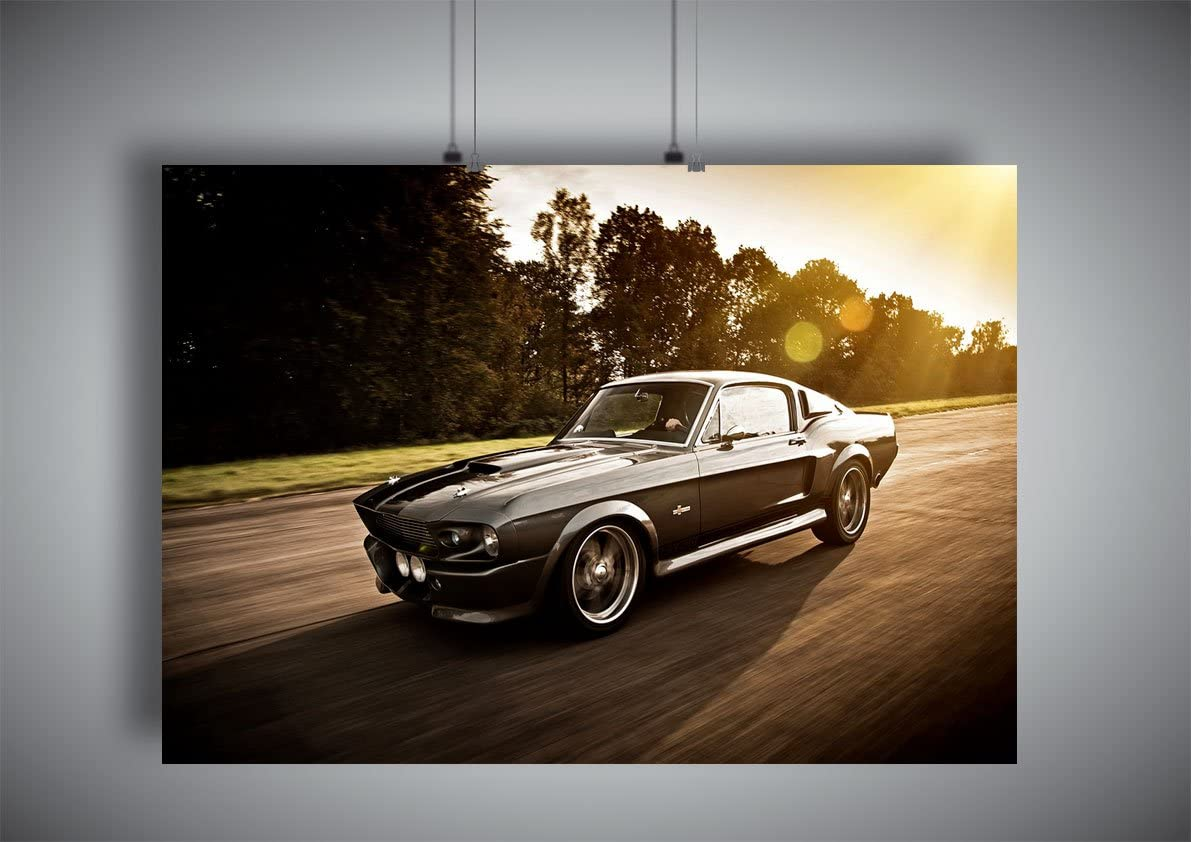 Poster Ford Mustang Shelby GT 500 Eleanor 1967 Sunset Wall Art