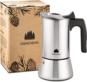 Groenenberg Cafetera Italiana inducción, 6 Tazas (300 ml) | Cafetera Espresso de Acero INOX | Moka Expresso Maker Incl. Junta de Silicona de Recambio e Instrucciones Paso a Paso | Sin Aluminio