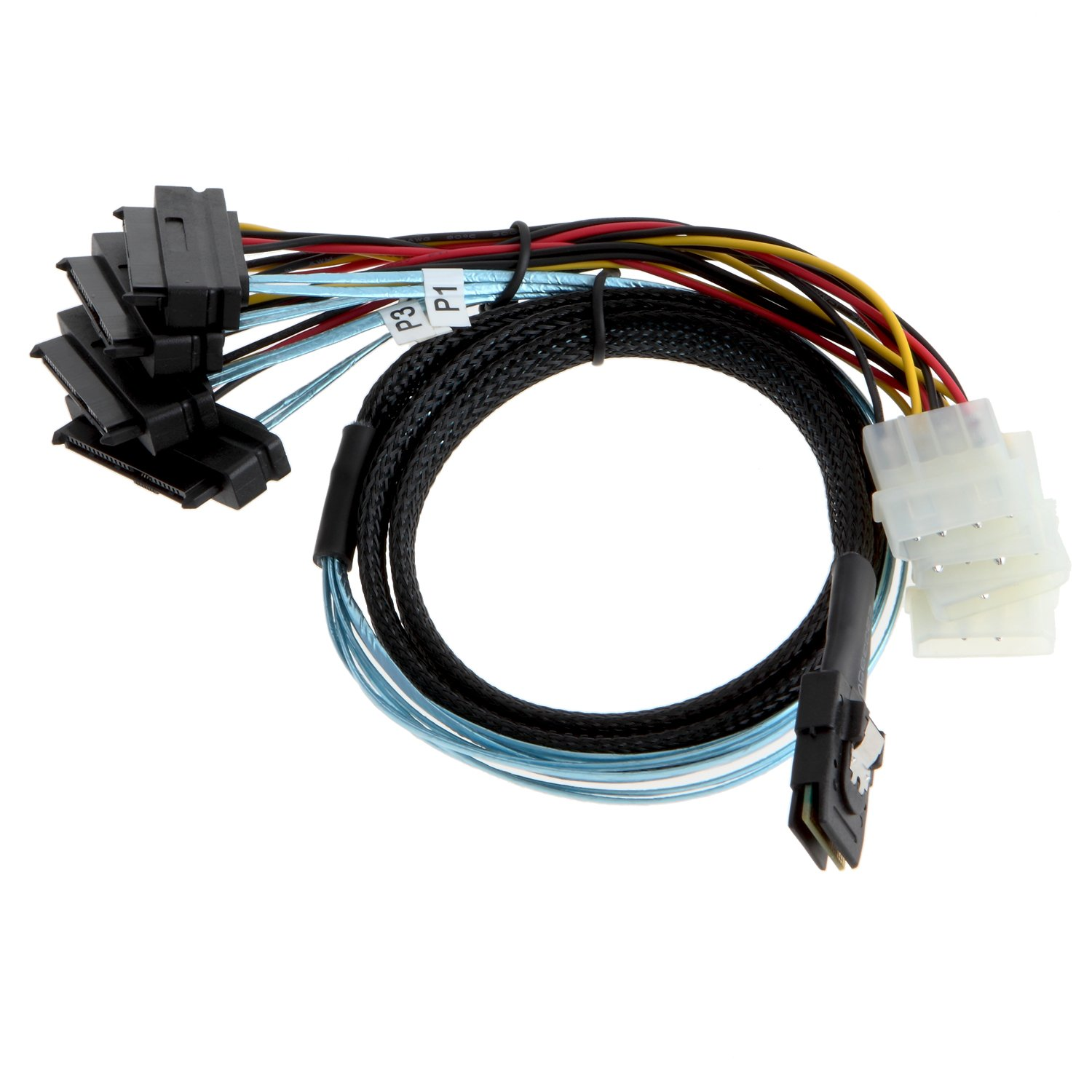 CableCreation Mini SAS 36Pin (SFF-8087) Male to 4x SAS 29 (SFF-8482) female with 4pin Power Cable, Mini SAS Host to 4 SAS Target Cable, 3.3FT by CableCreation (Image #1)