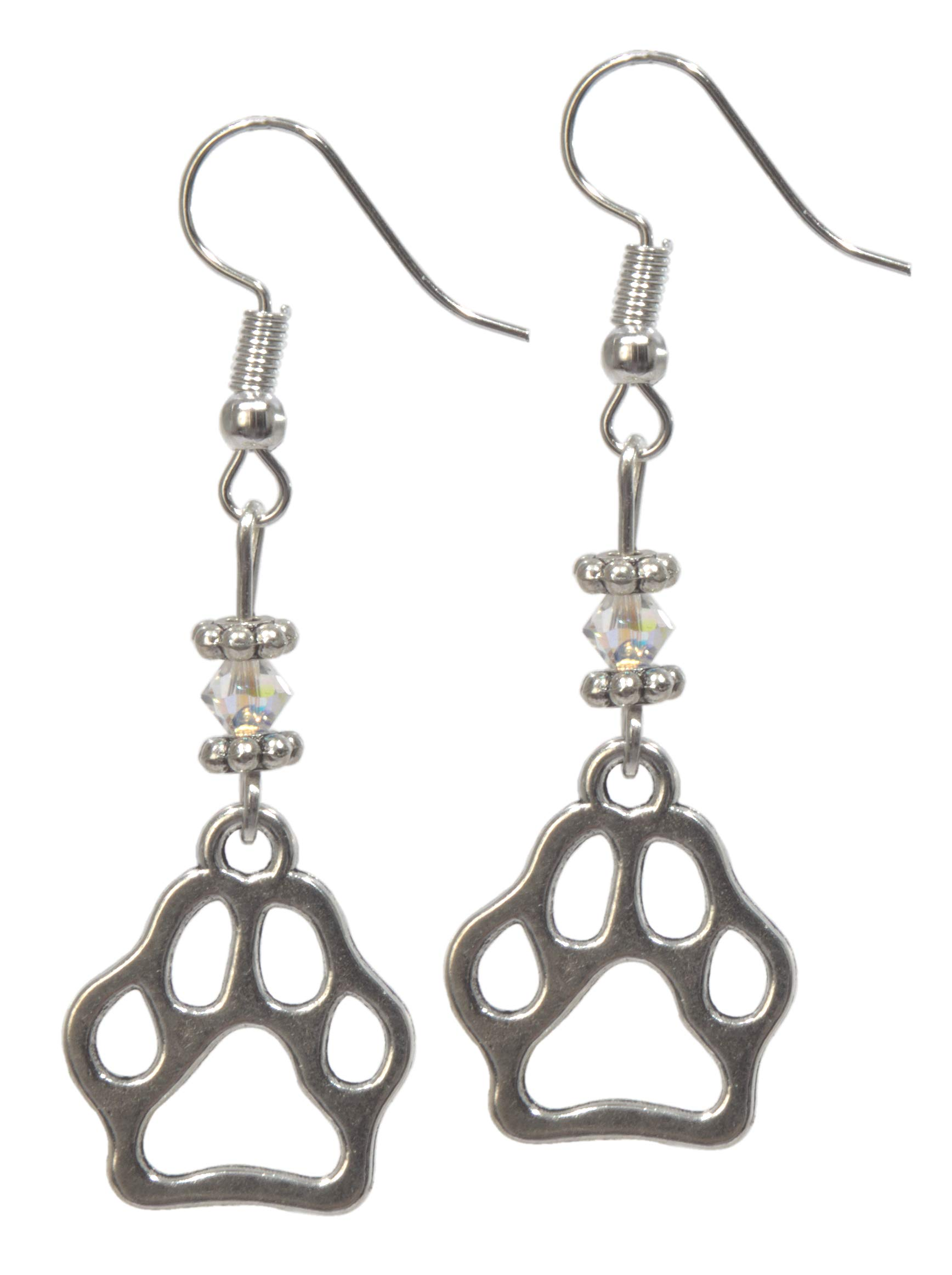 ViciBeads Earrings, Silver Colored Paw Pendant with Austrian Crystal Dangle Earring Bag