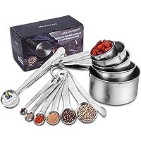 HAUSPROFI Juego de 13 tazas y cucharas medidoras de acero inoxidable, incluye 5 tazas de nido, 6 cucharas apilables, 1…