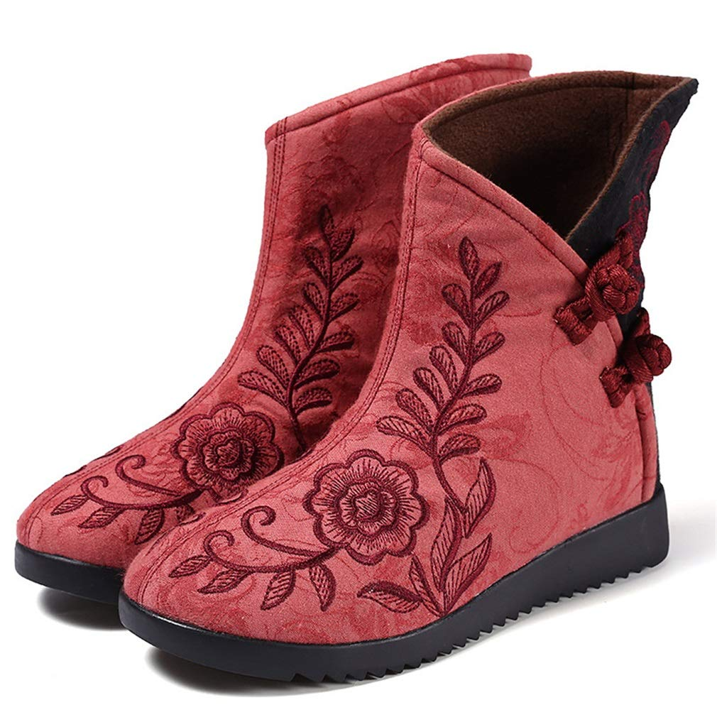 YAN Frauen Kleid Schuhe Retro Weibliche Baumwolltuch Schuhe Mode Stiefeletten Winter Warme Schneeschuhe