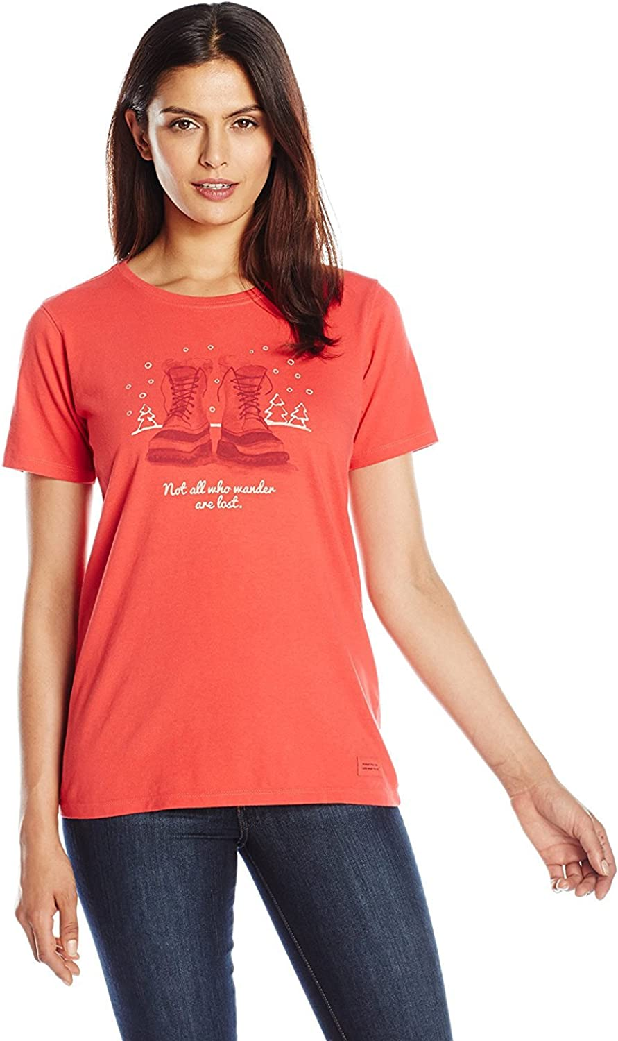 Life is good Womens Crusher Winter Wander Boots Tee Simply Red
