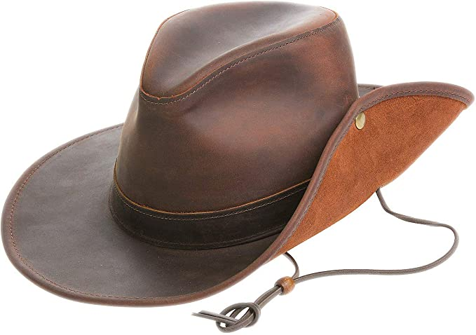 Image Unavailable. Image not available for. Color  Aussie Distressed Leather  Outback Hat d99332caac83