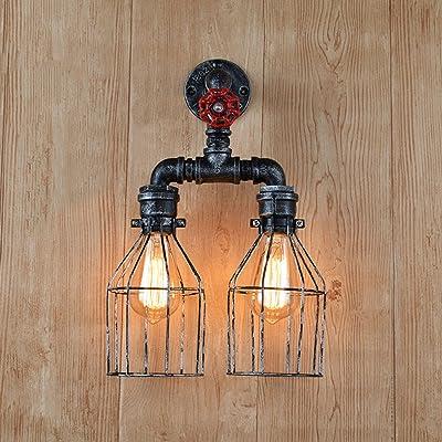 Applique Murale Salon Intérieur Rustique E27 Porte Lampe 2 Flammes