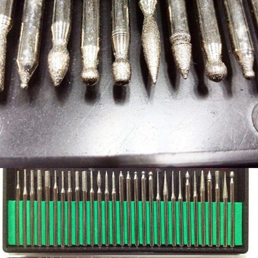 Brocas de diamante, 30 piezas de cristal de grano 120, mediano con vá stago de 3 mm para perforar, grabado, corte de puntas de molienda mediano con vástago de 3 mm para perforar UxradG