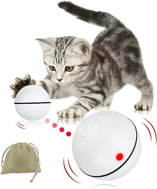 Pelota interactiva para gatos, detección de obstáculos, juguete para gatito con función de temporizador de luz LED recargable por USB, el mejor regalo de entretenimiento para tu gatito y cachorro: Amazon.es: Productos