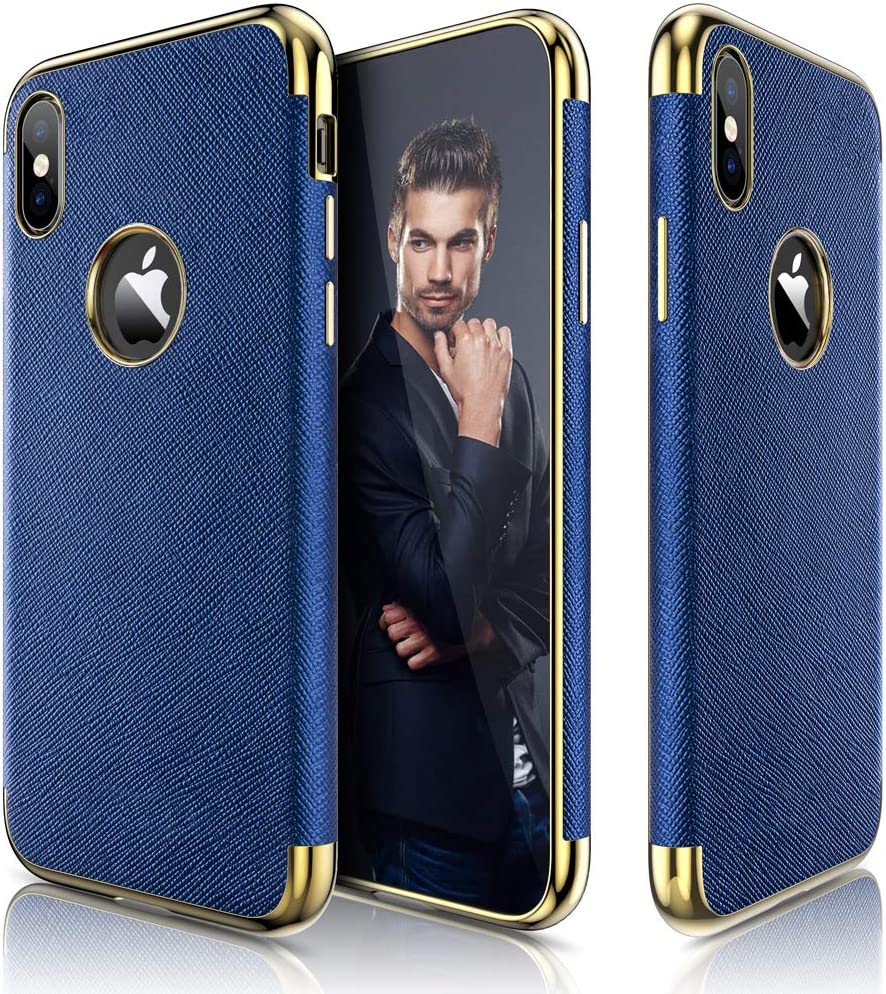 LOHASIC iPhone X Case, iPhone Xs Case (2018) Premium Leather Slim Thin Luxury Soft Back Flexible Full Body Frame Non-Slip Shockproof Cases Cover Compatible with iPhone X 10 - Ink Blue