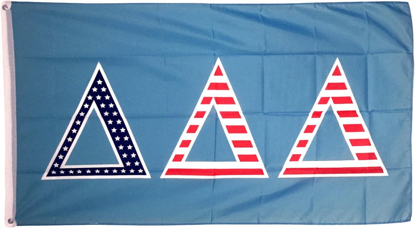 Delta Delta Delta USA Letter Sorority Flag Greek Banner Large 3 feet x 5 feet Sign Decor tri Delta (Flag - USA)