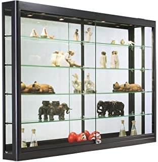 Displays2go Aluminum Display Cabinet For Retail With Lighting, Z Bar  Design, Tempered Glass