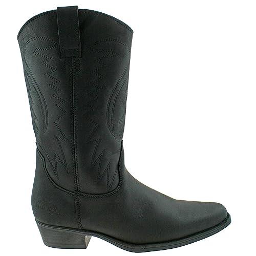 369b22df393 Wrangler Texas II HI Mens Leather Calf Length Cowboy Boots Black ...