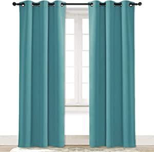 NICETOWN Blackout Room Darkening Window Curtain - Thermal Insulated Solid Grommet Blackout Curtain/Drape for Living Room (Sea Teal, Single Panel, 42 by 84-inch)