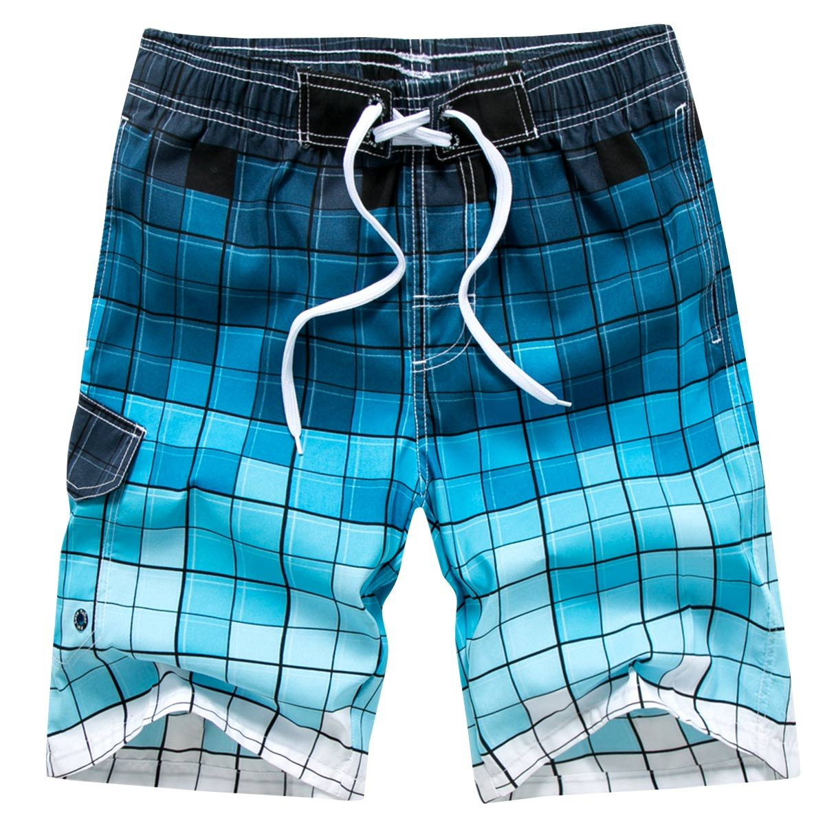 Men's Tropical Island Printing Cotton Quick-Drying Cargo Water Shorts Fashion BreathableBathing Suits, Blue Size L