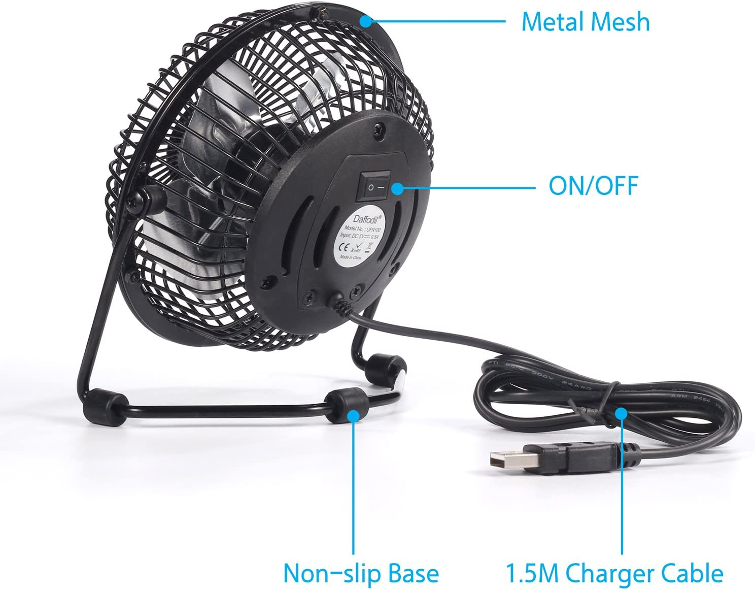Black Stay Cool at your Desk on Hot Summer Days /… Daffodil USB Desk Fan UFN100