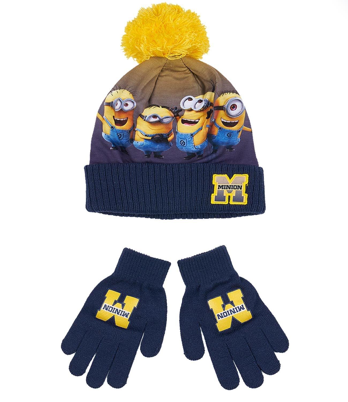 Minions Despicable Me Jungen 2 tlg Set bestehend aus: Mütze und Handschuhe - marine blau