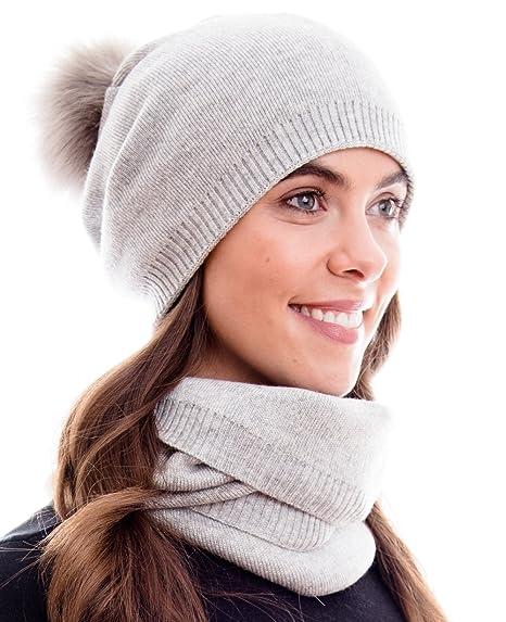 eb55344a7d41f Hilltop Products Ensemble combiné d'hiver 100% coton, composé d'une  écharpe, un bonnet en tricot assorti et un bonnet avec pompon (fausse  fourrure), ...