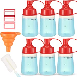 Condiment Squeeze Bottle Wide Mouth, Ondiomn 6 Pack 180ml Clear Squeeze Bottles for Condiments, Paint, Ketchup, Mustard, Oil, Sauces, Resin, Baking, Cake Decorating, Cleaning, BPA Free-Food Grade