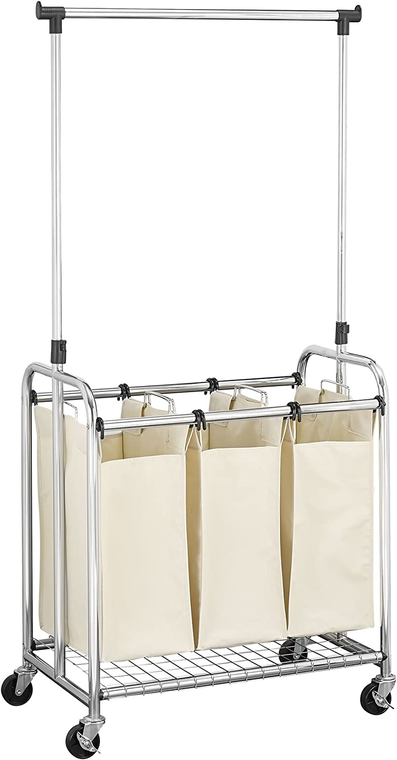 Household Essentials Commercial 3-Bag Laundry Sorter with Clothes Rack