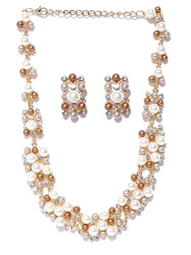 Indian Bollywood Gold Plated Fancy Party Wear Pearl Statement Necklace Jewellery Set for Girls & Women tvgZHtR