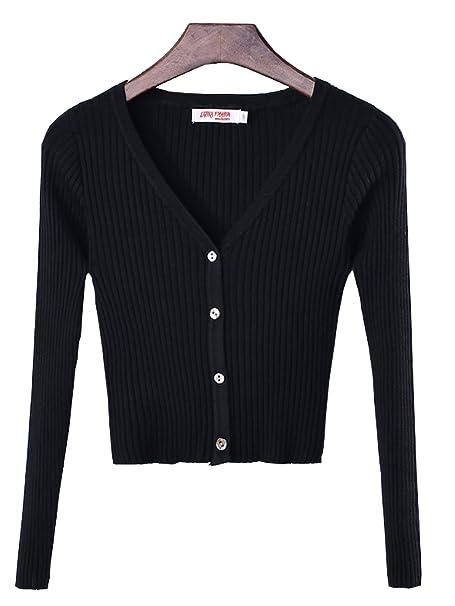 Discover great discount shop LATIKA Women's Rib V-Neck Button Down Slim High Waist Knit ...
