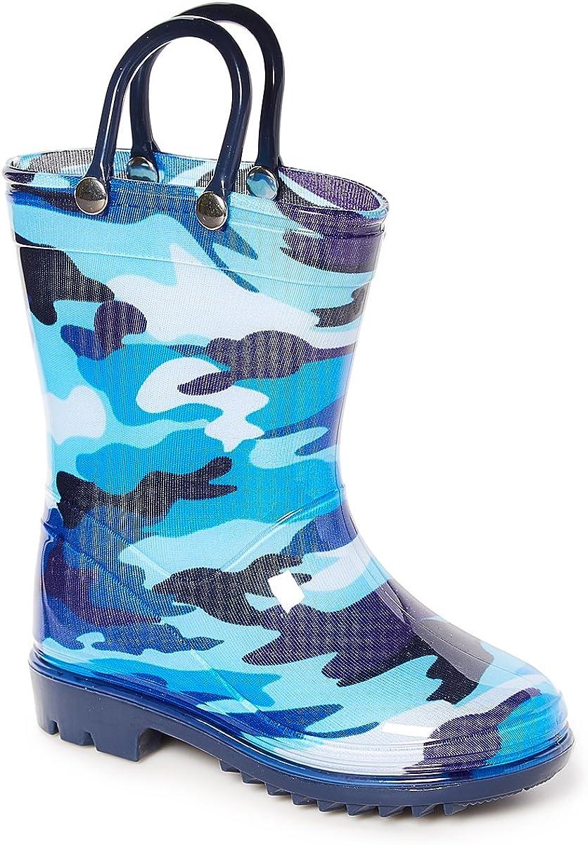 Storm Kidz Kids Boys Camo Rainboots Toddler//Little Kid//Big Kid Sizes Green Gray Blue Camouflage with Handles